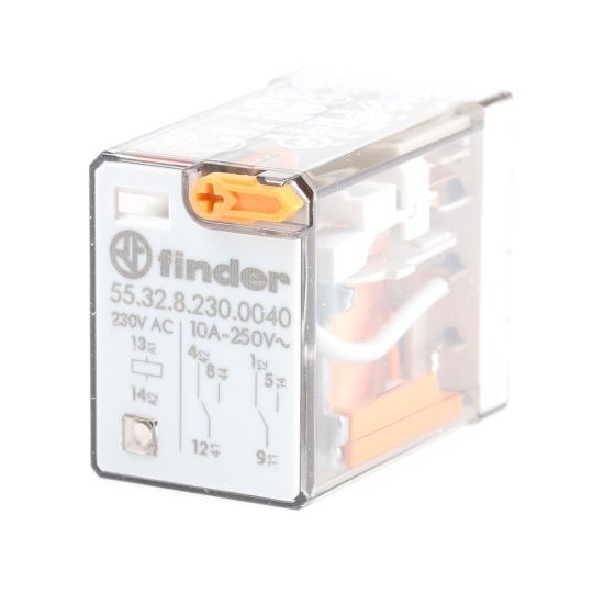 Finder Plug In Non-Latching Relay - DPDT, 230V ac Coil, 10A Switching Current, 2 Pole