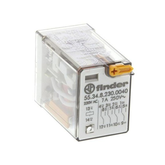 Finder Plug In Non-Latching Relay - 4PDT, 230V ac Coil, 7A Switching Current