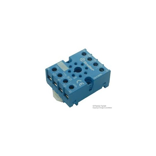 90.26 -  Relay Socket, DIN Rail, Panel, Screw, 8 Pins, 10 A, 250 V  FINDER